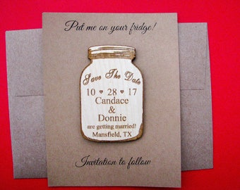 Mason jar save the date magnet set with envelope, rustic wedding, wooden refrigerator magnet, wedding gift, fancy personalized save-the-date