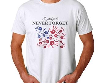 I Pledge To Never Forget Men's White T-shirt NEW Sizes S-2XL
