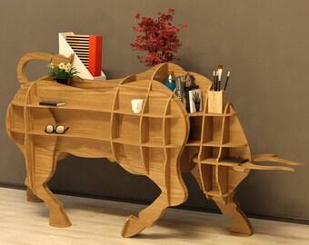 Bull Table 3D model,animals ,CNC ,decoration,decorative ,art, shelf ,interior,souvenir ,wood, wooden, vector graphics,laser,DXF,