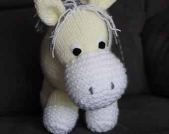 Large Yellow Knitted Pony