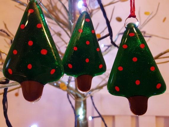 Set of 3 Fused glass Christmas trees
