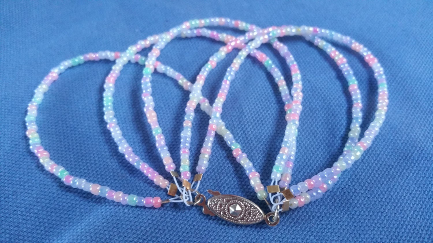 Rainbow pastel colors multi strand beaded wire bracelet, gift for ...