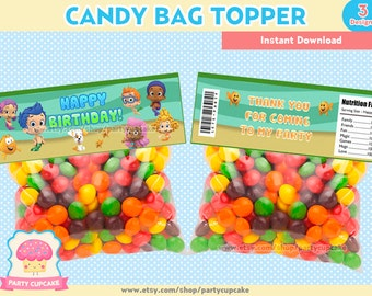 80% OFF SALE Candy Bag Topper Bubble Guppies - 3 Designs - Instant Download - PDF files - High Resolution - Holiday Party