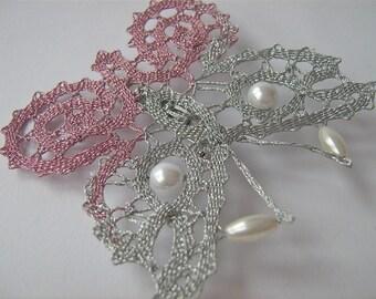"""Bobbin Lace Brooch """"Butterfly""""/ Handmade Bobbin Lace Jewelry/Bobbin Lace Brooch with pearls"""