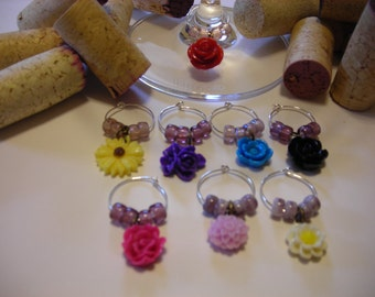 Flower Bouquet Wine Charms (8)