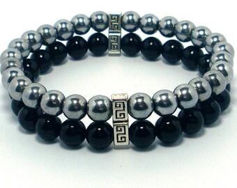 Onyx and Hematite Double Bracelet, Men Bracelet, Mens Gift , Mens Bracelet,Gift for Men, Men Gemstone Bracelet,Gift for Him,Beaded Bracelet,