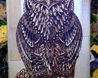 Panno / Owl / Art / Decoration for home / Pyrography/ Woodburning / Pyrography art