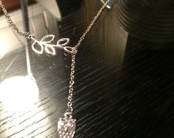 silver owl necklace,owl jewelry,branch tree leaf twigs necklace,tiny small owl