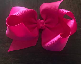 "4.5"" Hot Pink Boutique Bow, Hair Bow on Clip, Large Boutique Bow, Toddler Bow, Hair Bow, Kids Boutique Bow, Kids Bows"