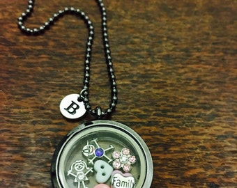 Family Charm Floating Locket and Chain