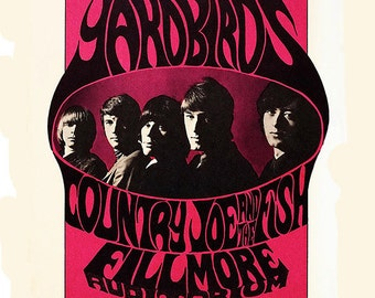 Yardbirds, Eric Clapton, Jimmy Page, Jeff Beck, Fillmore, Concert Poster, Art, Poster, Print, Rock and Roll, 8x10, 11x14, 16x20 (JS00798)