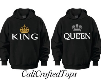 King Queen Couple Hoodies, Anniversary, Gift, Matching Hoodies, 2 Hoodies