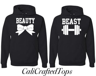 EXPEDITE SHIPPING ** Beauty Beast Couple Hoodies, Anniversary, Gift, Matching Hoodies, 2 Hoodies
