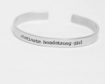 Obstinate Headstrong Girl / Literary Jewelry / Pride and Prejudice Jewelry / Literary Bracelet / Jane Austen Gift / Book Lovers Jewelry