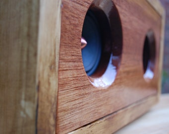 Handmade Reclaimed Meranti / Mahogany Wood Powered Speaker Unit For 3.5mm iPhone, Android, MP3, Chromecast
