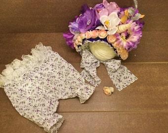 Beautiful Floral Bonnet and pants set-{LILY}-Flower bonnet, Girls Sitter flower bonnet,Photo,6-9 mths,UK Seller,Ready to sale