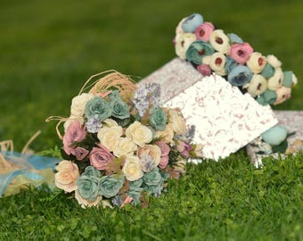 Bridal bouquet set, wedding bouquet, wedding flowers, Bohemian  bouquet, bridal flowers, rustic flowers, costem bouquet, handmade bouquet,