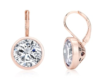 Classy Classic Bonita Belle Bezel Set Round Clear/White Cubic Zirconia{CZ}-Rose Gold Plated Drop/Dangle Earrings-Bridal Gift