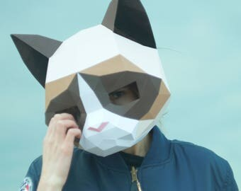 Grumpy Cat Mask,DIY Animal Head,Pdf Download,Paper Mask,Helmet,
