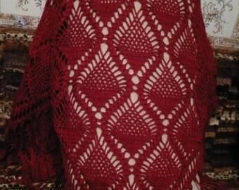 Crochet shawl, wool shawl