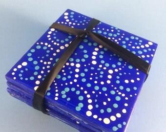 "Coasters, Polka dot, Blue coasters, 4.25x4.25"" coasters, Set of 4"