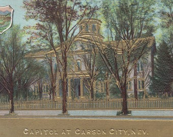 Carson City, Nevada Vintage Postcard - Nevada Capitol, Nevada State Seal