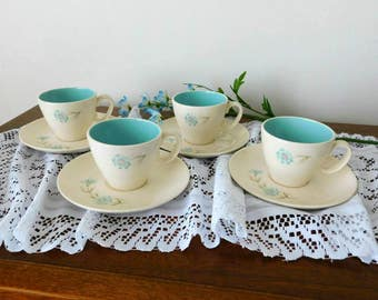 Taylor Smith Taylor vintage tea cups and saucers BOUTONNIERE  pattern 1950s