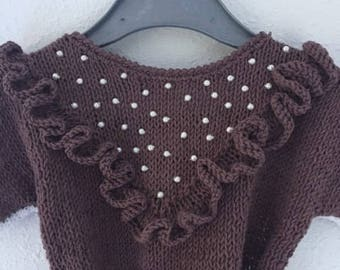 Cotton blouse, blouse, Brown, beads
