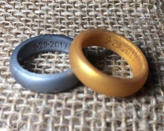 NEW! Personalized Gold & Silver Silicone Wedding Ring for Women! Customized Fitness Rubber Wedding Band!