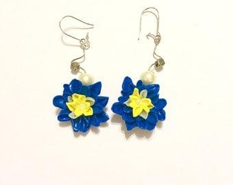 Blue & Yellow Flower Earring   Flower Earrings   Nature Earrings   Floral earrings