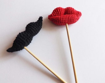 Crochet lips Crochet Mustache Crochet red lips Amigurumi mustache Photo Booth Props for a Party Lips and Mustashe Photoshoot decor