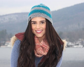 Blue and Grey crochet hat