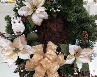 """24"""" White Gold Poinsettia Owl Wreath"""