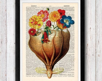 Magical Octopus Vase At Print / Humour Octopus Art Print / Print on Dictionary Pages Vintage Book Print