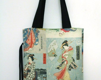 Tote bag foldable Japanese geisha designs