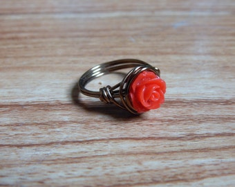 Red Rose Wire Ring