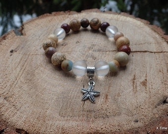 Bracelet of Natural Stones Brown Jasper and Moonstone Stylish Handmade