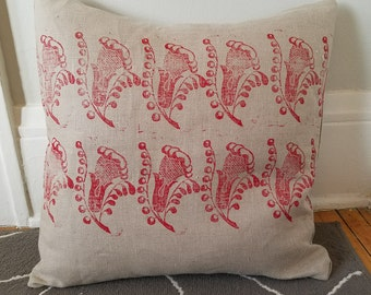 Linen pillow English stamped