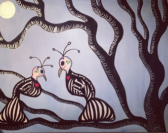 Together Forever-Inspired by Dia de los Muertos birds; Original 24 X 18 X 1.75 acrylic painting.