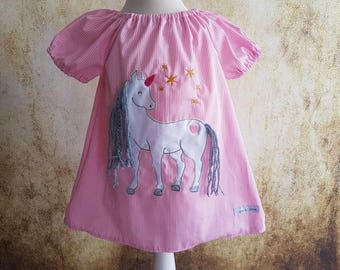 Unicorn 3D unicorn tunic pink woolly hair, pink, pink, cotton dress, tunic, 3D, unicorn, Unicorn tunic, kids, baby, gift, mythical creatures,.