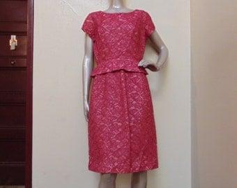 Vintage Pink Lace Short Peplum