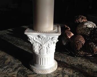 UNITY CANDLE HOLDER, Greek Column Pillar Candleholder, Candle Holder, Wedding Decor, White Wedding Pillar Candleholder, Greek Succulent