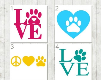 Love Paw Print Decal - Paw Print Decal - Dog Paw Decal - Puppy Love Decal - Animal Lover Decal - Gift for Pet Owner - Paw Print Car Decal