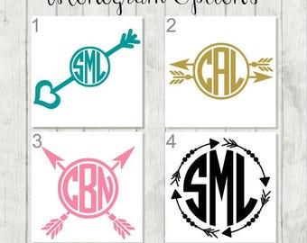 Arrow Monogram Decal - Arrow Framed Monogram Decal - Arrow Decal - Monogram Vinyl Decal - Tribal Monogram Decal - Arrow Laptop Decal - Arrow