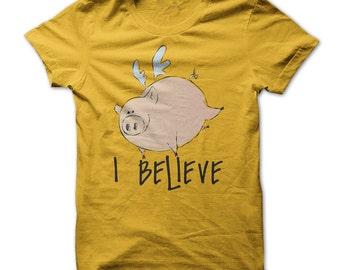 Flying Pig Shirt - Flying Pig Tshirt - I believe T shirt  - Pig Lovers T shirt - Funny Pig Tshirt - Pig Owners Tshirt - Pink Pig - Pig Gifts