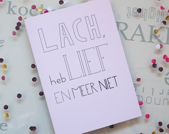 Sale! Greeting card incl. envelope ' so on ' with text laugh, love and more