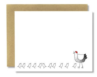 Spring Hen + Chick Horizontal - A2 Cad (Single or Set of 5)