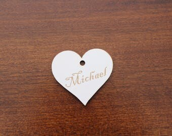 Heart Shaped Place Name tag