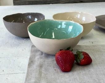 Set of 3 Ceramic bowls, Serving bowl, Salad bowl, Mixing bowl, Dipping bowl, Desert bowl, Ice cream bowl, Cereal bowl, Ceramic bowl,