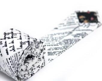 Mens tie Newspaper print Men's skinny tie Wedding Ties Necktie for Men Camellucci